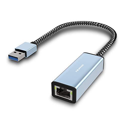 Adaptador Ethernet,BENFEI USB 3.0 a RJ45 10/100/1000 Gigabit Ethernet LAN compatible con MacBook, Surface Pro, PC portátil con Windows7/8/10, XP, Vista, Mac[Caja de aluminio y cable de nailon]