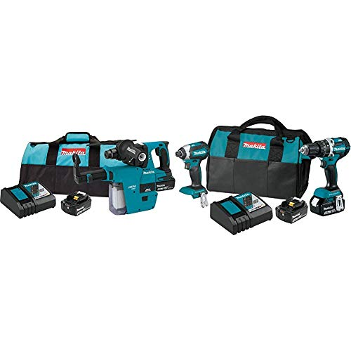 Makita XRH011TX 18-Volt LXT Brushless Cordless 1 in Rotary Hammer Kit, accepts SDS-PLUS bits, w/HEPA Dust Extractor, 5.0Ah with XT269T 18V LXT Lithium-Ion Brushless Cordless 2 Pc. Combo Kit (5.0Ah)