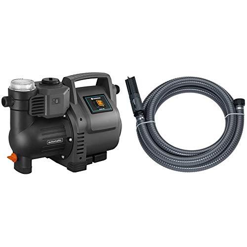 Gardena Hauswasserautomat 3500/4E: Robuste Hauswasserpumpe & Sauggarnitur 7 m: Robuster Saugschlauch zum Anschluss an die Gartenpumpe, mit Saugfilter und Rückflussstop, Durchmesser 25 mm