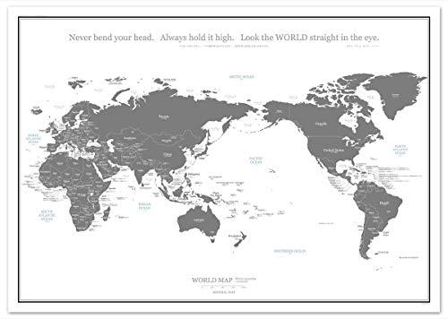 ミニマルマップ 世界地図 シンプル で おしゃれ な インテリア ワールド マップ (A1, グレー)