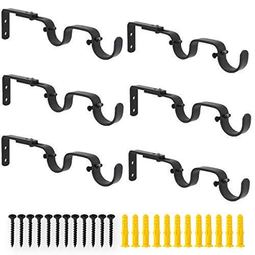 "AddGrace Double Curtain Rod Bracket Heavy Duty Adjustable Curtain Rod Holders 6 Pack for 1"" Rod (Black)"