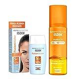 ISDIN PACK Protector Solar Facial Fusion Water SPF 50+   Protector Solar Corporal Hydro Oil SPF 30, Protege y Broncea hasta un +43%