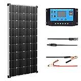 XINPUGUANG 100W Watts 12V Panel Solar Kit de módulo fotovoltaico monocristalino 10A 12v / 24v Controlador solar para caravana, barco, automóvil, hogar, carga de batería de 12v