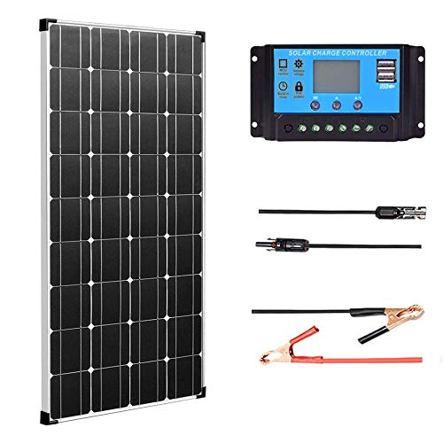 XINPUGUANG Kit de panneau solaire 100W 12V Module photovoltaïque monocristallin 18v Contrôleur solaire 10A pour caravane, bateau, voiture, maison, chargement de batterie 12v
