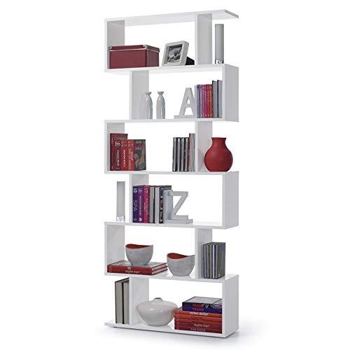 13Casa Kafka A8 Libreria, Melamina/Legno, Bianco Lucido, 80x25x192 cm