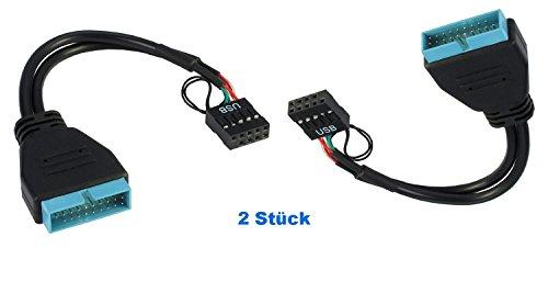 Emobil 2X USB Adapter USB 3.0 auf USB 2.0 9Pin Blockstecker intern zur Verwendung im PC Computer Gehäuse