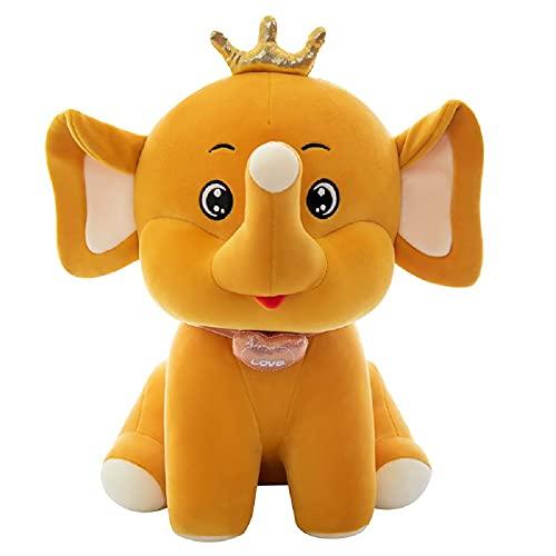 Bebé elefante almohada dibujos animados felpa juguete corona 50 cm niños y niñas regalo de cumpleaños-compañeros de juegos para niños muebles para el hogar regalos para fanáticos del anime(amarillo)