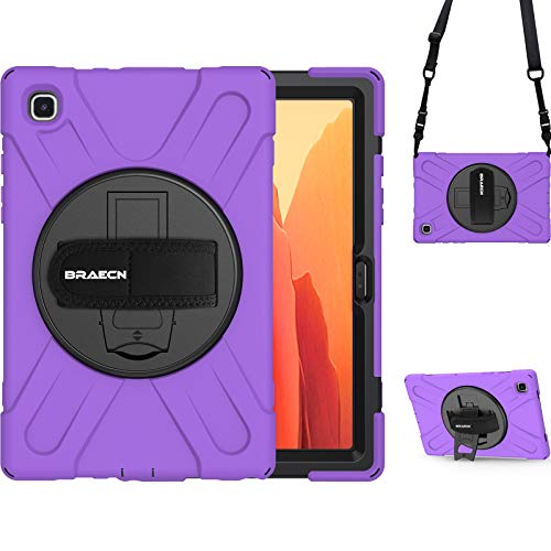 BRAECN Galaxy Tab A7 Case 2020, Heavy Duty Shockproof Rugged Hard Case with Carrying Shoulder Strap, Hand Strap, Kickstand for Samsung Galaxy Tab A7 10.4 Inch 2020 Model SM-T500 SM-T505 SM-T507-Purple