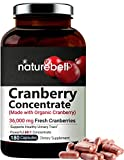 NatureBell Cranberry Pills, 36,000mg Fresh Cranberries Equivalent, 180 Capsules, Made with Organic Cranberry Extract