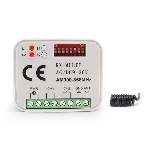 Receptor de radio universal de garaje RX-Muti 2CH 12-24 V AC-DCCompatible 300mhz-868mhz transmisor a distancia de marca Muti est Venu FAA Beninca Hormann Sommer, etc.