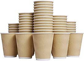 Luckypack Hot Disposable Insulated Corrugated Sleeve Ripple Wall Paper Coffee Cups for Drink, 100 PACK