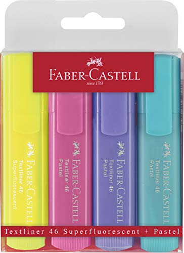 Oferta de Faber-Castell Estuche con 4 marcadores fluorescentes tonos pastel Textliner 1546, colores surtidos (154610)