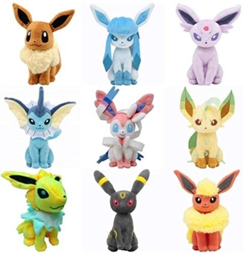UYIKEA 9 Pcs Eeveelution Pokemon Plush Toys Eevee Glaceon Leafeon Umbreon Espeon Jolteon Vaporeon Flareon Sylveon for Kids Birthday Gift LLLDN