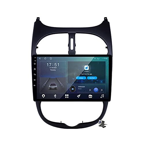 Android 10 Car Radio de Navegación GPS para Peugeot 206 1998-2012 con 9 Pulgada Táctil Support 5G FM Am RDS/DSP MP5 Player/Steering Wheel Control/Carplay Android Auto/Voice Control,M600