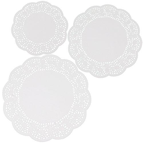 com-four® 84x Tortenspitzen, Tortenunterlagen in weiß, Ø 21 cm, Ø 26 cm, Ø 30 cm (84 Stück - verschiedene Größen)