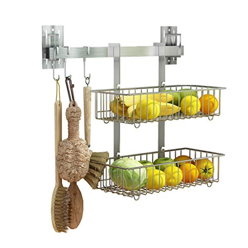 Purchase HXF- Fruit And Vegetable Rack Stainless Steel Kitchen Bathroom Shelf Punch Wall-mounted Sto...
