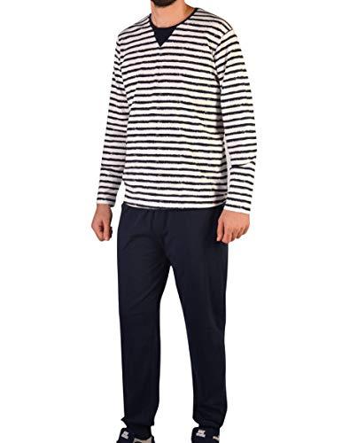 Herren Pyjama Set aus Baumwolle Langarm Schlafanzug (XXL, Modell 1)