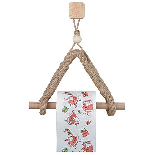 Portarrollos de papel higiénico titular de papel higiénico vintage cuerda de cáñamo madera papel higiénico titular para decoración de baño (Sytle 1)