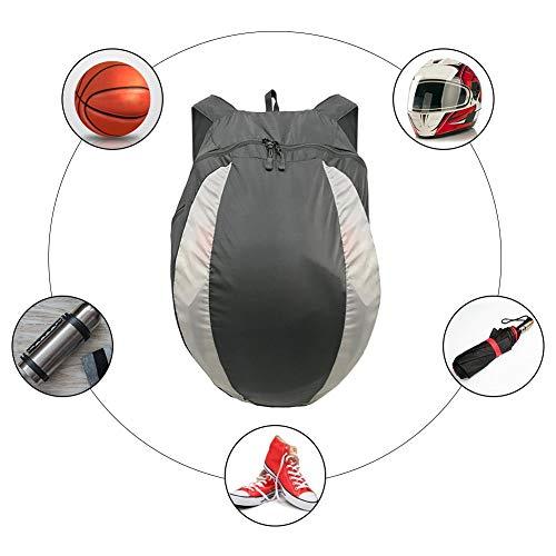 Forwei Ultraleichter packbarer Helmrucksack, schwarzer kompakter Rucksack, 28-l-Motorradrucksack/Aufbewahrung für Fahrradhelme/Motorradhelme/Sport & Basketball