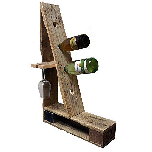 """Palettenmöbel Flaschenregal Weinregal \""""Climbing\"""" für 4 Flaschen und 2 Gläser aus recycelten Palettenholz - Jedes Stück ein Unikat aus echter Handarbeit Made in Germany"""
