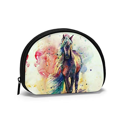 Watercolor Horse Coin Purse with Zipper Mini Wallet Cosmetic Makeup Bag Change Pouch Key Holder Gifts for Women Kids Girls