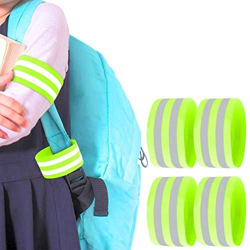 May-Kon Bike Juego de 4 bandas reflectantes dobles de alta calidad para niños, reflectores, ciclismo, senderismo, correr, equitación