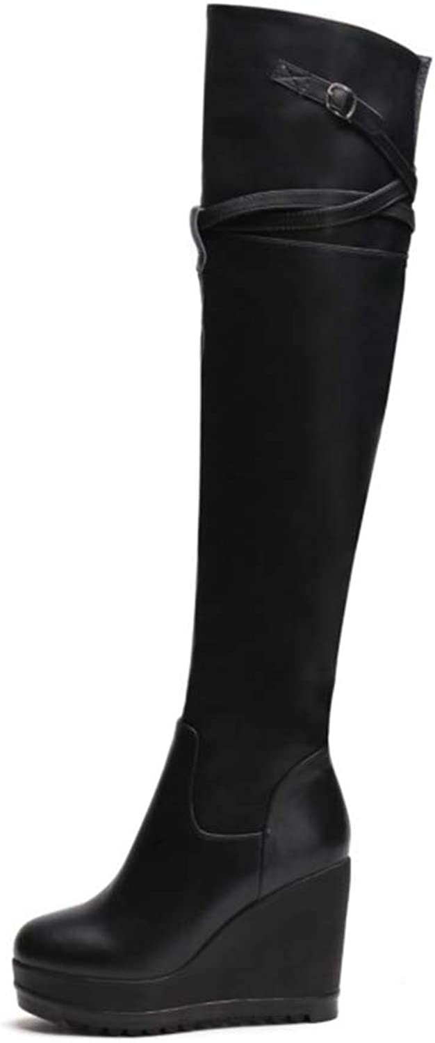 Women Knee High Winter Boot High Heel Wedge Long Fashion Warm Classic Boots Black Round Toe Soft Leather