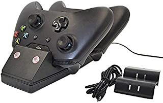 OSTENT Dual Charger Dock + Recharge Battery Compatible for Microsoft Xbox One Wireless Controller