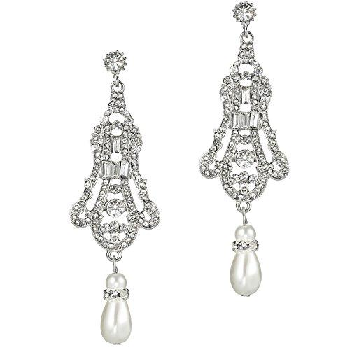 BABEYOND 1920s Flapper Art Deco Gatsby Earrings 20s Flapper Gatsby Accessories Vintage Wedding Dangle Pearl Earrings