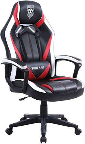 Massage Gaming Chair, Ergonomic Computer Gaming Chair, Racing Style Home Office Chair, Swivel Gaming Desk Chair, High Back Racing Gaming Chair, Carbon Fibre Leather Gamer Chair Big and Tall (Red)