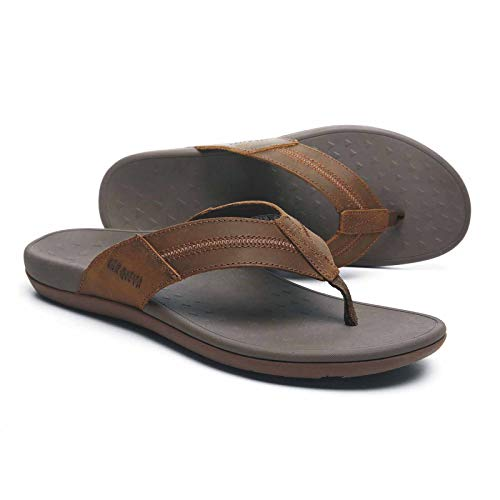 Men's Flip Flops Sandals with Genuine Leather, Thong Sandals with Good Arch Support, Orthotic Plantar Fasciitis Slippers for Vacations Size 13