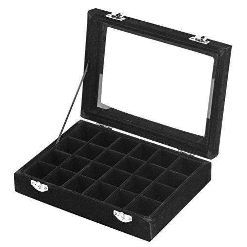LANTWOO 24 Grids Velvet Glass Ring Earrings Jewelry Box Earrings Organiser Storage Holder Display Case