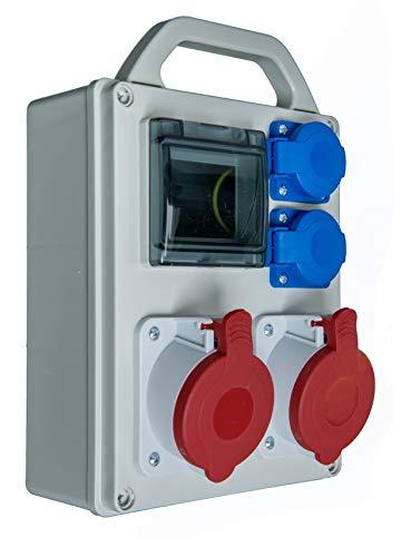 Baustromverteiler mobil 2 x CEE400V/ 32A + 2 x 250 V/16A Schuko verdrahtet 4 TE