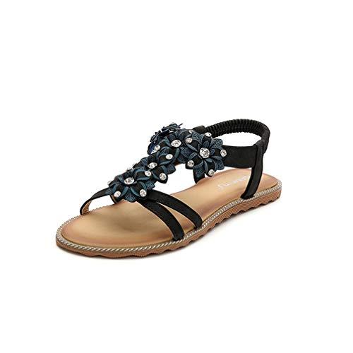Sandalias planas de verano para mujer, de princesa, para la playa, para mujer, para la playa, para el tiempo libre, en tallas grandes, color negro, 39