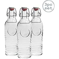Bormioli Rocco Officina 1825 Vintage Botella de vidrio con tapa abatible - 1200ml - transparente - 3 unidades