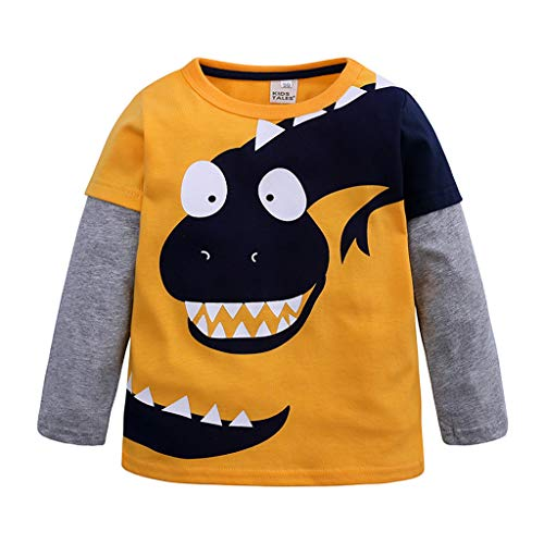 Syliababy Jungen Langarmshirt Pullover Shirt, Cartoon Dinosaurier Patchwork Shirt...