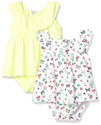 Quiltex — Vestido infantil para bebês meninas Secret Garden 2 pacotes com estampa por toda a peça, Secret Garden, 12 Months