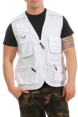 Mivaro Herren Safari-Weste mit vielen praktischen Taschen, funktionale Arbeitsweste, Outdoor-Weste, Größe:XL, Farbe:Weiß