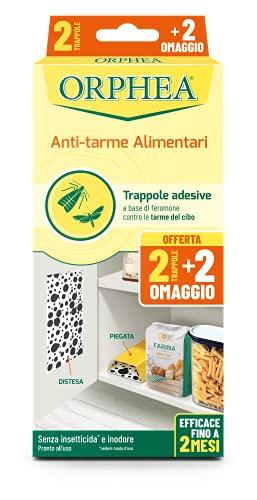 Orphea Antitarme Alimentare, Trappole Adesive Contro Le Tarme Del Cibo, Farfalline, Senza Insetticida E Inodore, Confezione 4., color Trappola Adesiva