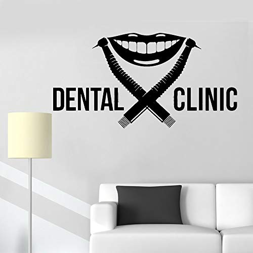 Muurstickers Citaten en Zeggen Tandheelkundige Kliniek Teken Tandarts Signage Boor Tand Glimlach Stomatologie Tanden Decal Stickers Decor 21x12 inches