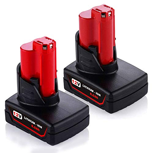 2Pack 6.0Ah Battery for Milwaukee, 12-Volt Lithium-ion Battery for Milwaukee M-12 48-11-2410 Lithium Battery Compatible with 48-11-2420 48-11-2411 48-11-2401 48-11-2402