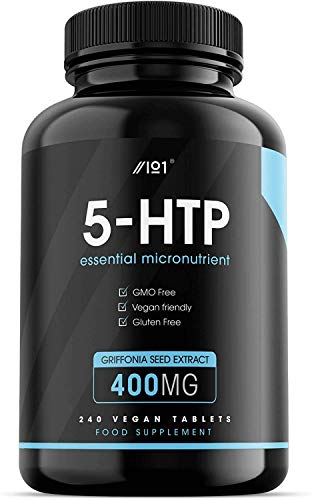 5HTP Tablets - 400mg - Raw Griffonia Seed Extract - 240 Vegan Tablets - No Additives — Non-GMO, Gluten Free. (1 Pack)