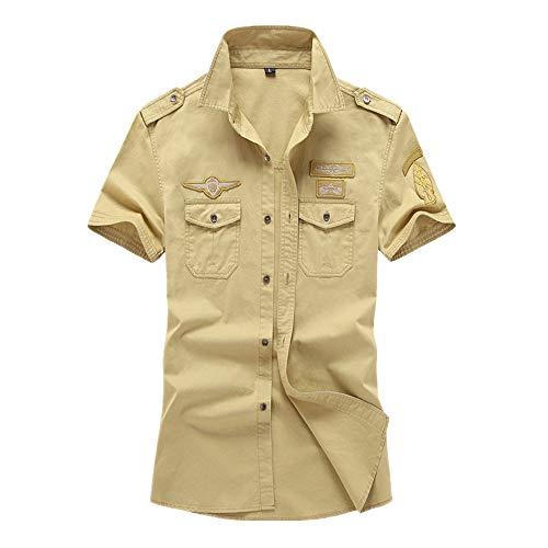 Camisa de verano para hombre, de algodón puro, militar, de manga corta, para hombre
