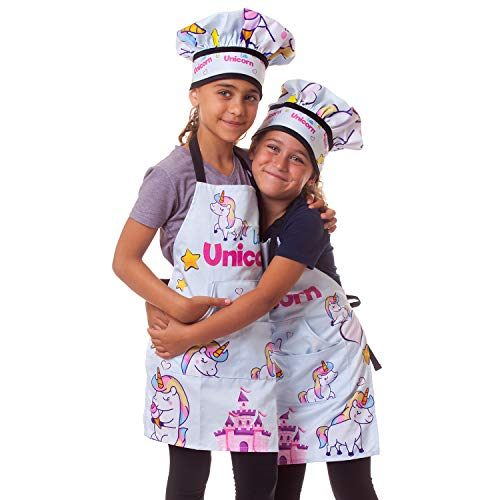 Cooking Baking Set for Children Toy - Little Unicorn Kitchen Pretend Play Adjustable Costume Apron for kids Chef Hat Oven Mitt Dough Roller Pot Holder Cookie Cutters Piping Bags Tips Couplers