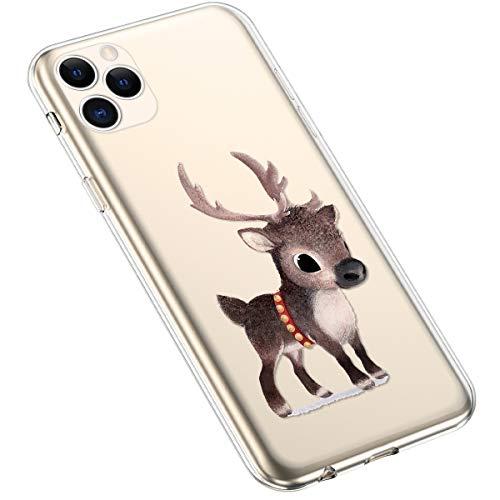 Uposao Kompatibel mit iPhone 11 Pro Max Hülle Silikon Transparent Schutzhülle Schneeflocken Xmas Handyhülle mit Weihnachten Muster Motiv Durchsichtig Tasche Case,Weihnachten Hirsch