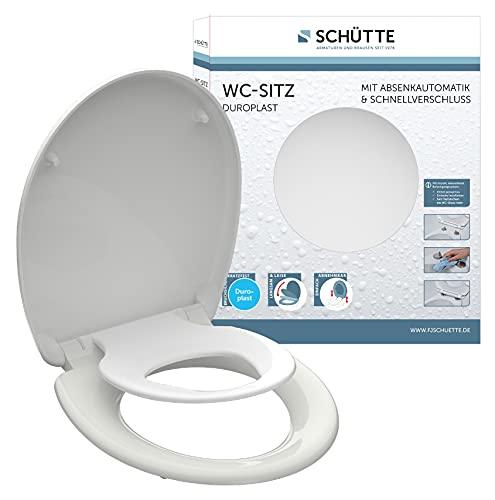 SCHÜTTE WC Sitz FAMILY WHITE Duroplast, Toilettensitz mit Absenkautomatik und Schnellverschluss, Klobrille mit abnehmbarem Kindersitz, maximale Belastung 150 kg Weiß 82940