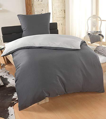 BFW Dreamhome 2-4teilig Dreamhome Uni fein Seersucker Wende Bettwäsche Bettbezug für Bettdecke Kissenbezug 80x80, Größe:135 x 200 cm, Farbe:Silber-GRAU