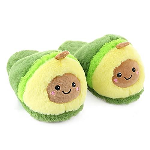 Millffy cute Pitaya shoes Woman Avocado Slippers Warm pineapple plush House Bedroom Slippers (5-8,Avocado)