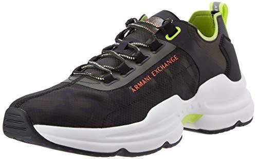 Armani Exchange Tokyo Camouflage Chunky Sneakers, Zapatillas Hombre, Verde Camuflaje, 43 EU