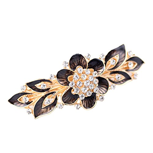 YAZILIND Elegante Joyas de Estilo Floral Encantador Oro Plateado Bridal Accesorio de Pelo Brillo de Cristal Rhinestone Barrette de Pelo para Las Mujeres Clips Horquillas de Pelo(Gris Negro)